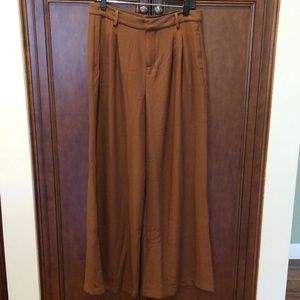 Pleated Brown Trousers Wide Leg Read Measure LQQK